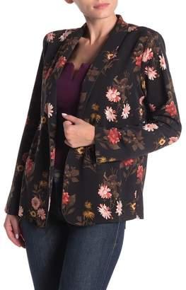 Bobeau Floral Open Woven Blazer Jacket (Regular & Petite)