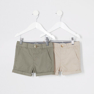 River Island Mini boys stone chino shorts multipack