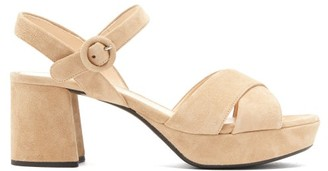 Prada Suede Platform Sandals - Nude
