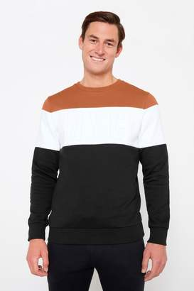 F&F Mens Multi Embossed NYC Cut And Sew Crew Sweater - Natural