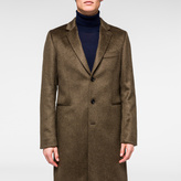 Paul Smith Men's Khaki Wool-Mohair Textured Overcoat