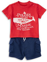 Ralph Lauren Childrenswear Two-Piece Graphic Printed Tee and Shorts Set