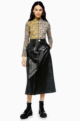 Topshop Womens Black A-Line Vinyl Midi Skirt - Black