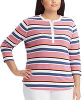 Chaps Plus Size Striped Henley Tee