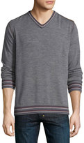 Robert Graham Shayne Tipped V-Neck Sweater, Charcoal