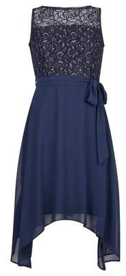 Dorothy Perkins Womens **Billie & Blossom Petite Navy Lace Chiffon Midi Dress