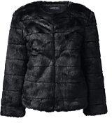 Lands' End Women's Fur Jacket-Sail Blue Stripe