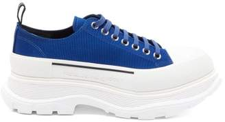 Alexander McQueen Raised Trek-sole Canvas And Rubber Trainers - Mens - Blue