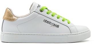 Roberto Cavalli Sport Neon Metallic Accent Leather Mix Media Low-Top Sneakers