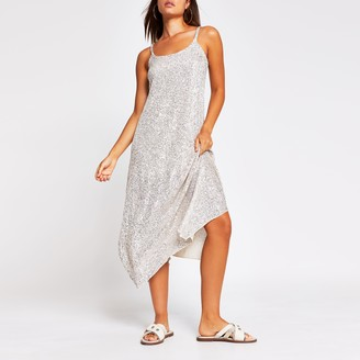 River Island Womens Silver sequin cami dress