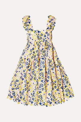 Cecilie Bahnsen - Rue Open-back Tiered Guipure Lace Dress - Yellow