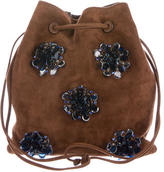 Miu Miu Embellished Suede Bucket Bag