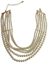 """Women's Fashion Pearl Choker Necklace - Gold/Ivory (14"""")"""