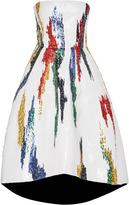 Oscar de la Renta Strapless Tea Length Gown