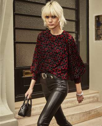 The Kooples Cropped black top with long sleeves & dots