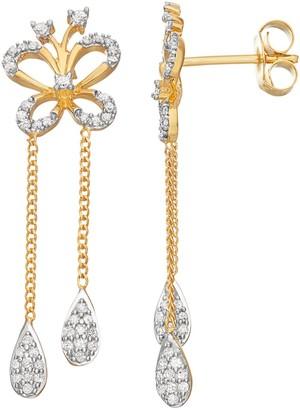 14k Gold Over Silver 3/8 Carat T.W. Diamond Butterfly Drop Earrings