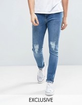 Brooklyn Supply Co. Brooklyn Supply Co Vintage Washed Dumbo Jeans With Knee Slit In Skinny Fit