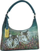 Anuschka Women's Hand Painted Leather Medium Top Zip Hobo Handbag