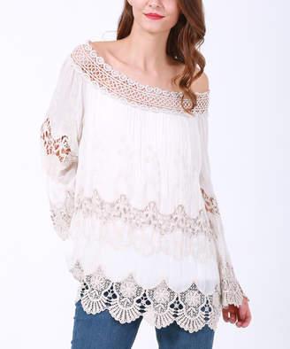 Couture Simply Women's Blouses BEIGE - Beige Lace Off-Shoulder Top - Plus