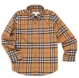 Burberry Little Boy's& Boy's Signature Check Cotton Shirt - Antique Yellow - Size 3