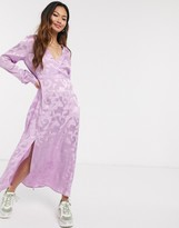 Pieces wrap maxi dress in lilac printed jacquard