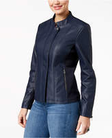 Style&Co. Style & Co Faux-Leather Knit-Contrast Jacket Available in Regular & Petite Sizes, Created for Macy's