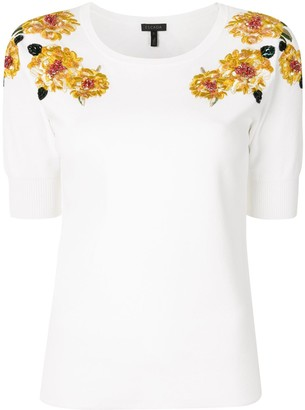 Escada Embroidered Floral Top