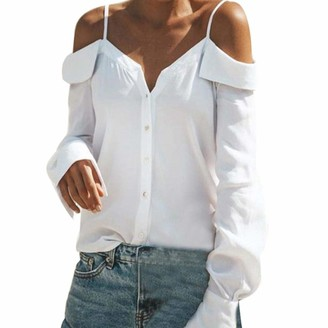 DEELIN Women Long Sleeves Off Shoulder Cami V-Neck Sexy Solid Pure Color Ladies Elegant Daily Tops Loose Blouse Shirt(White UK-18 CN-2XL)