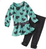 Little Lass terry heart dress & leggings set - baby