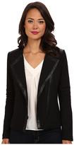 NYDJ Ponte & Faux Leather Moto Jacket