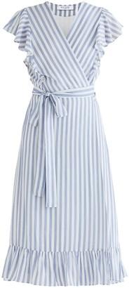 Paisie Brighton Striped Wrap Dress In Blue & White