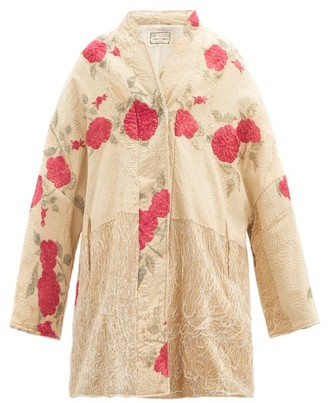 By Walid Basma Vintage Silk Piano-shawl Coat - White Multi