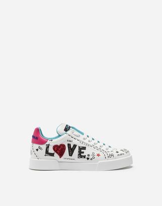 Dolce & Gabbana Printed Calfskin Portofino Sneakers With Patch