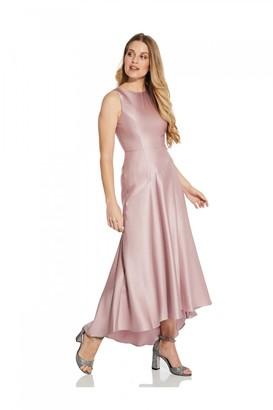 Adrianna Papell Mikado Drop Waist Gown In Aurora Pink