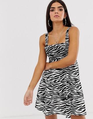Asos Design DESIGN trapeze mini cotton sundress in mono zebra print-Multi