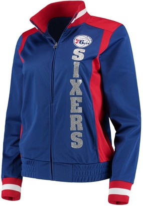 G Iii Women's G-III 4Her by Carl Banks Royal/Red Philadelphia 76ers On-Deck Platinum Glitter Track Jacket