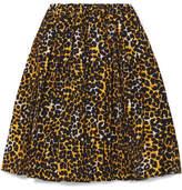 Prada Leopard-print Cotton-canvas Skirt - Yellow