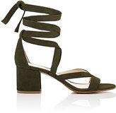 Barneys New York Women's Virginia Ankle-Wrap Sandals-DARK GREEN