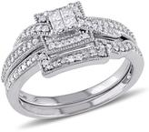10K White Gold 0.3ctw Princess-Cut and Round White Diamond Bridal Set