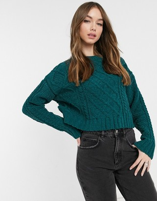 Bershka cable knit chenille jumper in green