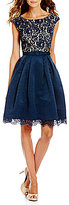 Eliza J Illusion Lace Bodice Boat Neck Fit-and-Flare Dress