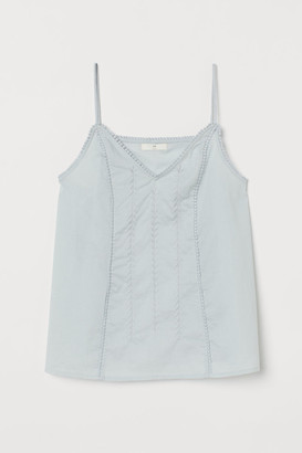 H&M Embroidered Cotton Camisole - Turquoise