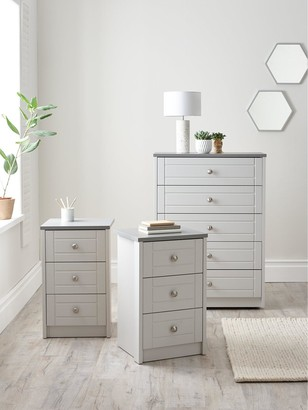 Alderley Ready Assembled 3 Piece Package - Chest of 5 Drawers and 2 Bedside Chests