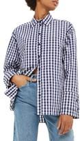 Topshop Women's Double Cuff Gingham Shirt