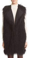 Theory Women's Nyma V Cody Shaggy Faux Fur Front Long Vest