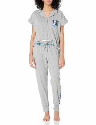 Tommy Hilfiger Women's Mixed Plaid Notch Collar Pajama Top & Bottom PJ Set