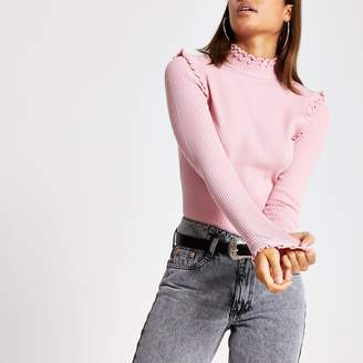 River Island Womens Pink frill turtle neck fitted jumper