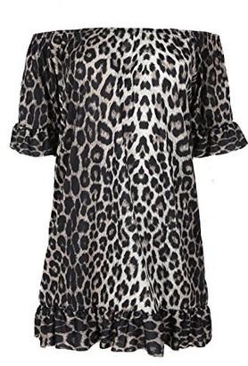 Fashion Star Womens Ladies Off The Shoulder Bardot Peplum Frill Short Sleeve Mini Dress Top S/M (UK 8/10) Leopard