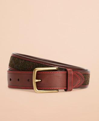 Brooks Brothers Plaid Herringbone Leather Belt