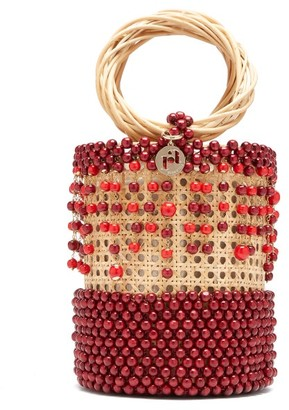 Rosantica Cora Beaded Wicker Bucket Bag - Womens - Burgundy Multi